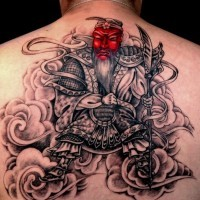 Chinese tattoo for back with warrior