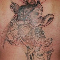 Chinese tattoo of the fearless warrior guan gong