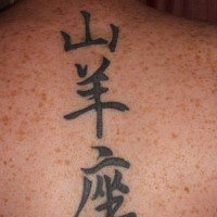 Chinese wording tattoo on back