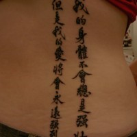 Chinese writing on full back in black ink