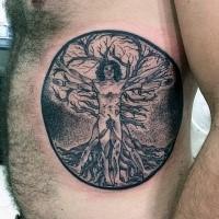 Circle shaped black ink side tattoo of Vitruvian man with tree