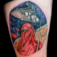 Kreisform farbig Oberschenkel Tattoo von Sterndes Kriegsschiffes mit Krieger