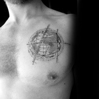 Circle shaped dotwork style chest tattoo of planet