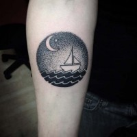 Circle shaped ship sailing at new Moon forearm tattoo in original technique