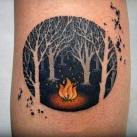 Circle shaped small dark forest tattoo with fire