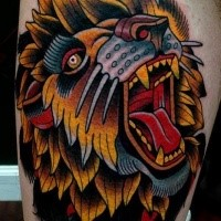 Colored amazing looking thigh tattoo of roaring head