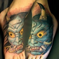 Colored asian demon tattoo on foot by Tim Senecal Oni