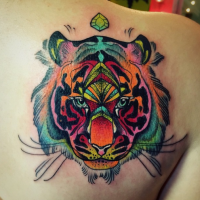 Colored cartoon style scapular tattoo of tiger face