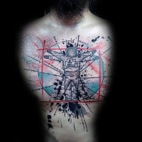 Colored chest tattoo of astronaut in shape of Vitruvian man