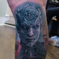 Colored cool looking leg tattoo of demonic warrior