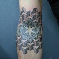 Tatuaje de brazo coloreado del estilo del dotwork de la estrella con los ornamentos geométricos