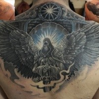 Colored fantasy style colored upper back tattoo of angel warrior
