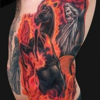 Colored fantasy style side tattoo of horse rider with flames