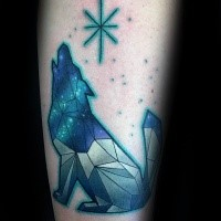 Colored geometrical style colored tattoo of wolf with big star