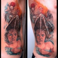 Colored horror  side tattoo of demon and creepy woman