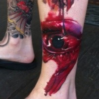 Colored horror style ankle tattoo of bloody eye