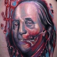 Colored horror style colored shoulder tattoo fo bloody America president