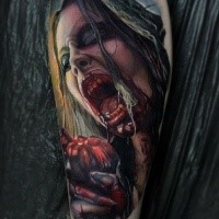 Colored horror style creepy looking arm tattoo of bloody woman with heart