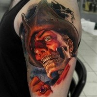 Colored horror style creepy looking shoulder tattoo of pirate skeleton