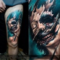 Colored horror style creepy looking thigh tattoo of zombie woman portrait