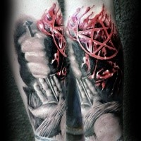Colored horror style Jesus hand with nail and devils star tattoo