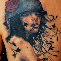 Colored illustrative style back tattoo of smoking sexy woman with rose