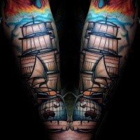 Colored illustrative style forearm tattoo of big sailing ship and globe