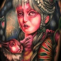 Colored illustrative style tattoo of fantasy woman with rabbit