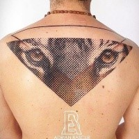 Colored illustrative style upper back tattoo of tiger face