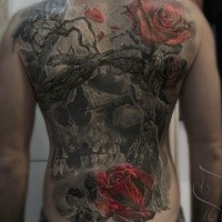 Colored illustrative style whole back tattoo of big tree with skull and rose