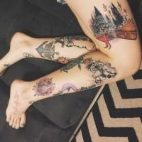 Farbige Beine Tattoos mit Schule aus Harry Potter Film