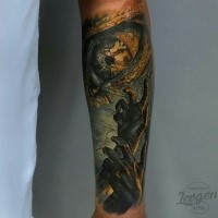 Colored mystical looking forearm tattoo of creepy hands and eye