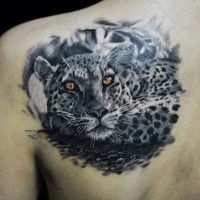 Natürlich aussehend farbiger Schulterblatt Tattoo des großartigen Leoparden