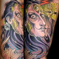 Colored new school style big arm tattoo of fantasy half man half octopus