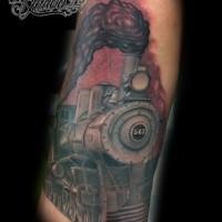 Colorato simpatico tatuaggio del treno a vapore con numero