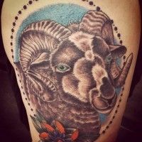 Colored portrait ram face tattoo