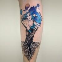 Colored psychedelic style leg tattoo of Joanna Swirska fantasy