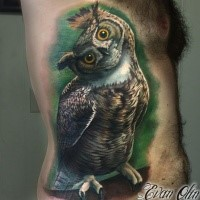 Colored realistic looking side tattoo of cute looking owl