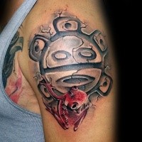 Colored shoulder tattoo of antic symbol with red frog