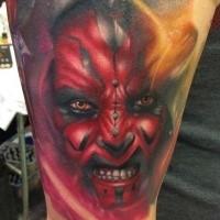 Colored shoulder tattoo of Star Wars episode one dark jedi