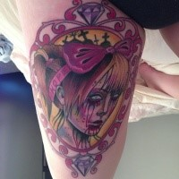 Colored spectacular looking thigh tattoo of bloody woman with lettering and diamond