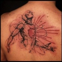 Colored upper back tattoo of fantastic man with red heart