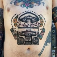 Colorful belly tattoo of music set with lettering and flowers