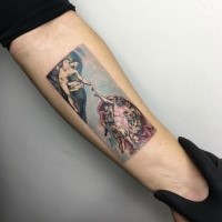 Colorful big forearm tattoo of ancient picture