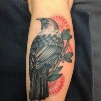 colorato uccello su ramo  tatuaggio