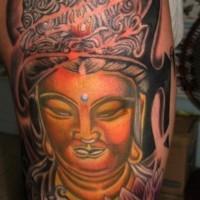 colorato testa buddhista tatuaggio per uomo