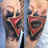 Colorful creepy looking arm tattoo of triangle with woman eye