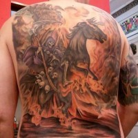 Colorful death on horseback with a bunch of skulls tattoo
