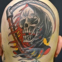 Colorful death tattoo on back of head