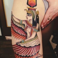 Colorful egyptian isis tattoo on arm